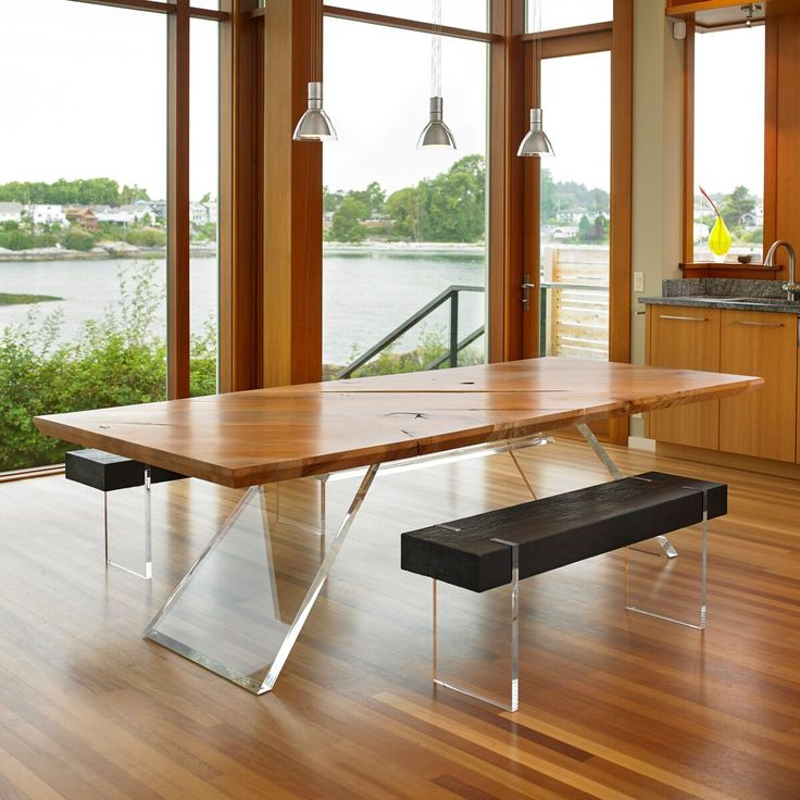 With its '70s-inspired acrylic legs, the CB1 table, made from B.C. maple, redefines the natural furniture movement.