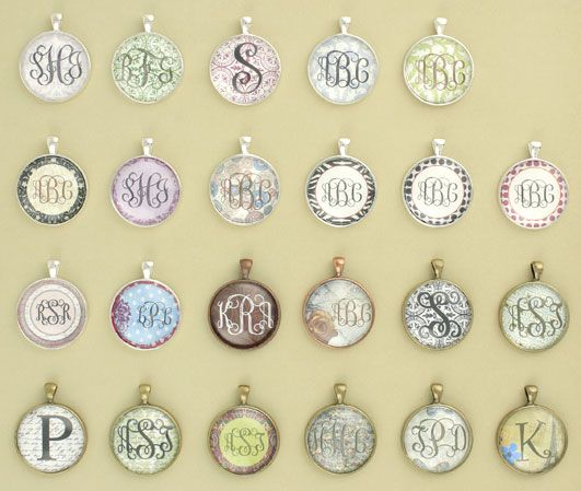Monogrammed necklaces...so easy to make with scrapbook paper and a pretty font #diy #doityourself
