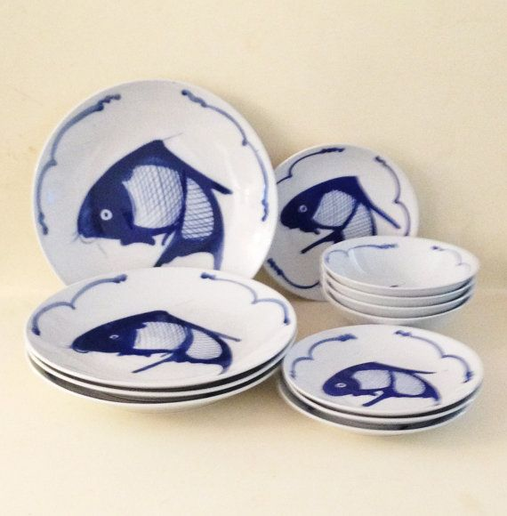 Chinoiserie blue and white koi fish dish set plates bowls for Koi fish bowl