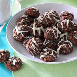 No-Bake Fudgy Coconut Cookies Recipe -My daughter works at a summer camp, so I send treats. Instead of a cookie jar we use a coffee can and call it the Wrangler Feeding Trough. Everyone asks for this cookie. —Sue Klemm, Rhinelander, Wisconsin