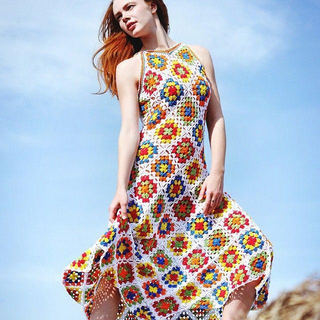 10 Types of Unique Crochet Dresses: Granny Square Crochet Dresses