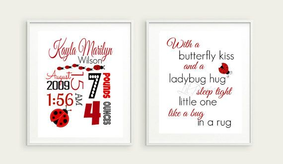 Personalized Birth Stat Keepsake. Perfect Christmas Gift or Baby Shower Gift. Custom colors available!  #nursery #babyshoweegift #lastminutegifts #giftideas #giftsunder10     Check out this item in my Etsy shop https://www.etsy.com/ca/listing/249835477/ladybug-nursery-print-ladybug-birth
