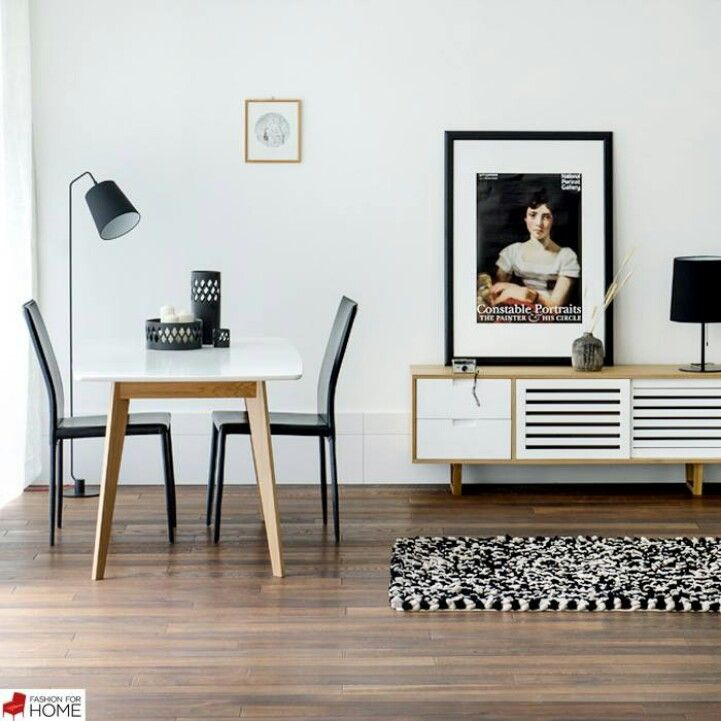 Monochrome interior with wooden retro sideboard