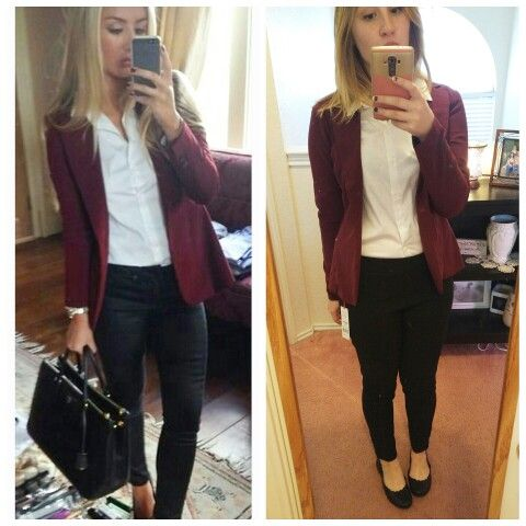 Recreated an outfit from Pinterest! Shirt from Sears, blazer from Charlotte Russe, and slacks/shoes from Kohls!