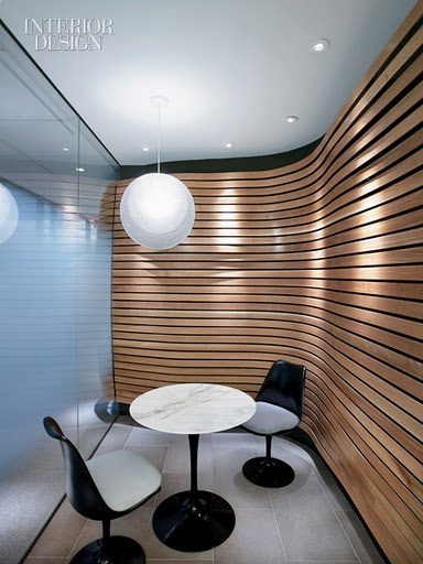 Timber curved slatted wall retail design pinterest for Curved wall