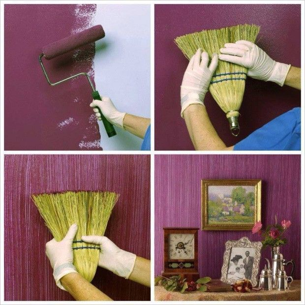make a textured painted wall with a broom and other creative and easy diy projects for - Paint Design Ideas For Walls