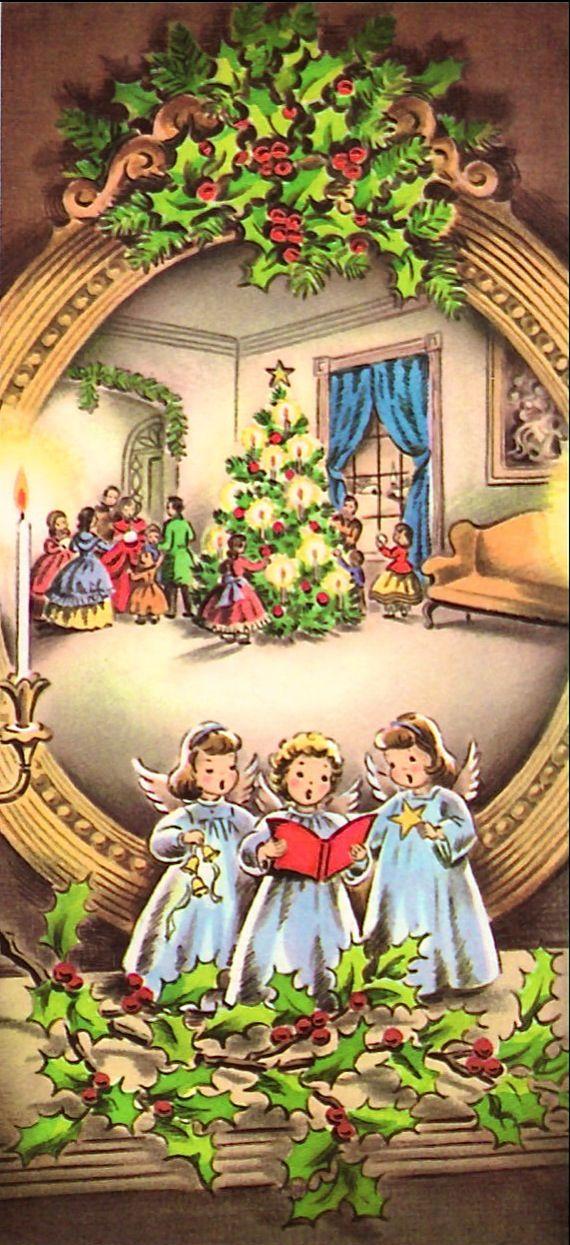 Vintage Christmas card, Caroling Angel figurines on the mantel