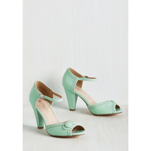 Restricted Vintage Inspired Marvelous Maven Heel ($38) ❤ liked on Polyvore featuring shoes, pumps, pastel shoes, vintage style pumps, mint green pumps, peep toe shoes and mint green shoes