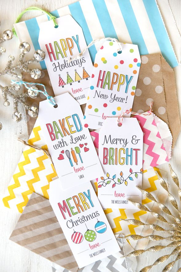 You choose the colors and text in these FREE Printable Gift Tags and watch the live preview change before your eyes.  When you're ready, print the whole sheet for free in seconds!  from Our Best Bites