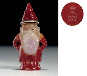 FABERGE JEWELRY ~ A rare figure of a gnome ! Marked Fabergé, workmaster's mark of Henrik Wigström, St. Petersburg, 1908-1917. Price realized: $1,384,000. Apr 2007, New York, Rockefeller Center