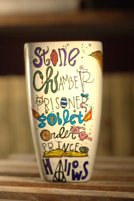 Complex Harry Potter Book Titles Mug - Hand painted, tall, square cream mug with snitch and wand