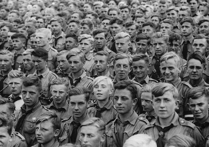 Boys of the Hitlerjugend (Hitler Youth) in attendance at the Nuremberg Rally in 1935