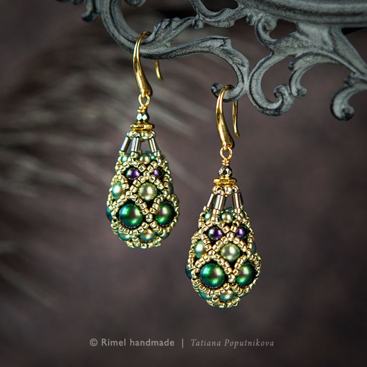 Серьги «Scarab Fabergé» Коллекция «Fabergé». Серьги из жемчуга Swarovski и японского бисера