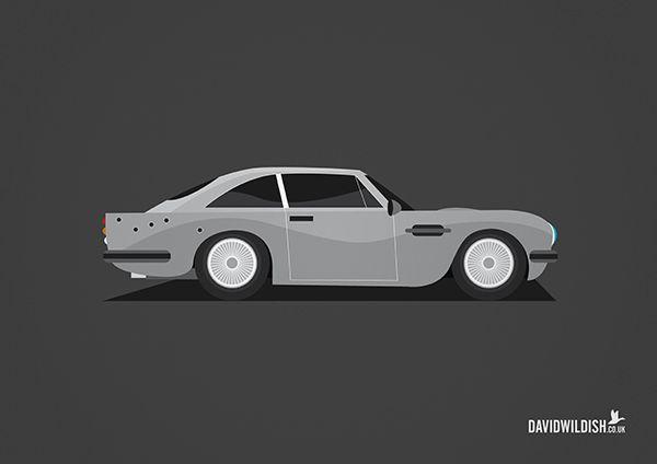 cars iconic tv movie illustration Aston martin from James Bond