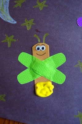 """Fireflies made with band-aids! Isla LOVES bandaids. Read Eric Carle's """"The Very Lonely Firefly"""" with it"""