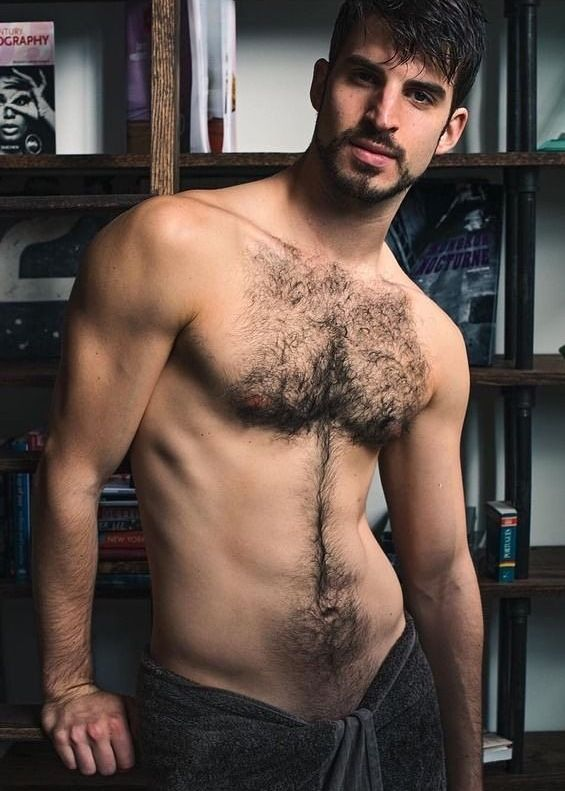 Hairy chested shirtless men