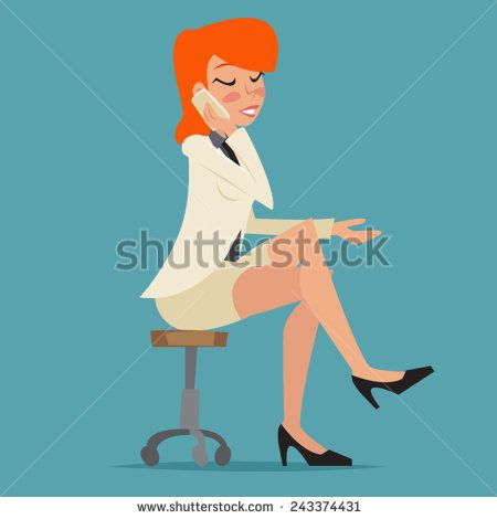 Cartoon Business Woman Happy Smiling Lady Character Talking Mobile Phone on Stylish Background Retro Design Vector Illustration