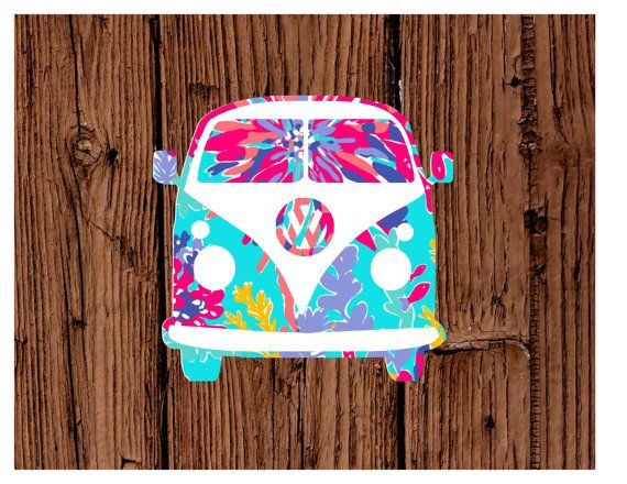 Lilly Pulitzer Inspired Volkswagen Bus Decal in print 4