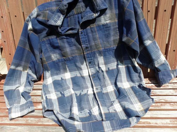 "Custom VTG Grunge Plaid Flannel Hand Bleached Thrashed Destroyed Ripped Shirt Mens L Women XL/xxl Unisex Shirt ""one of a kind"""