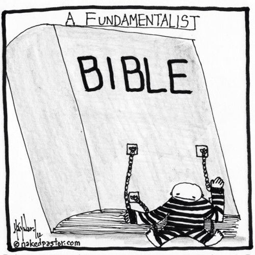 upholds beliefs in the strict, literal interpretation of scripture in the bible