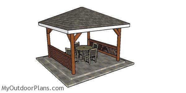 12x12 Hip Roof Gazebo Plans Myoutdoorplans Free Woodworking Plans And Projects Diy Shed Wooden Playhouse Pergola Bbq In 2020 Gazebo Plans Gazebo Hip Roof