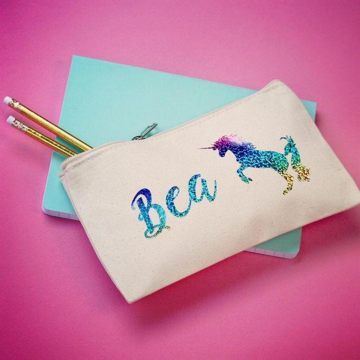 holographic rainbow unicorn personalised pencil case