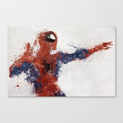 Spiderman Stretched Canvas by Melissa Smith - $85.00