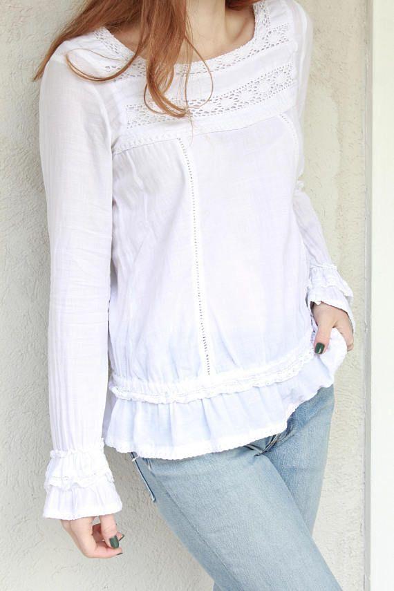 a269c2dadf5 Vintage white cotton blouse Crochet Lace Blouse Womens