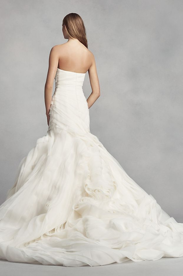 7ee6a32688b4 White by Vera Wang Bias-Tier Trumpet Wedding Dress Style VW351395 ...