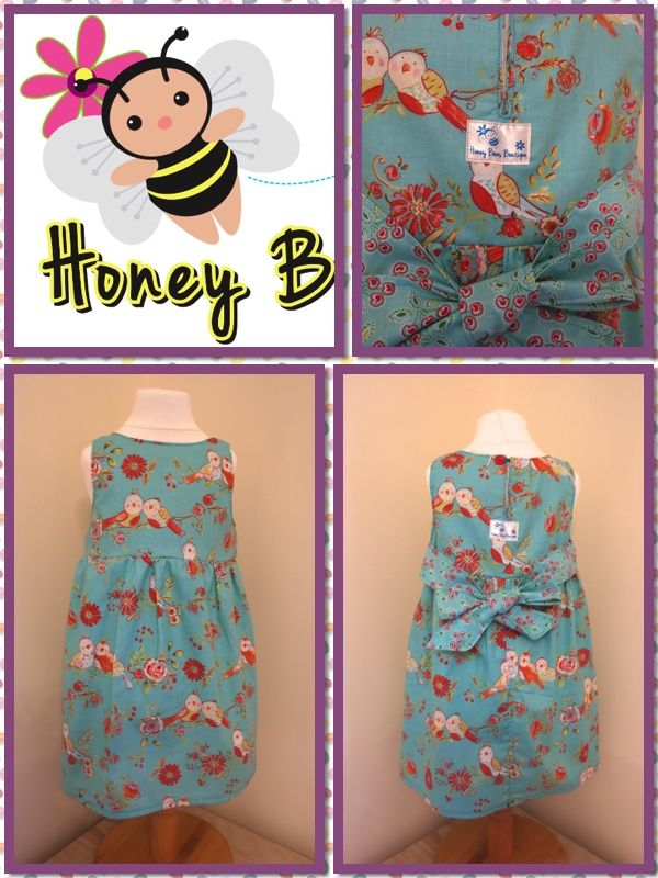 Vintage Dress using fabulous Love Birds print with co-ordinating sash.....    Find me at www.facebook.com/honeybeesboutiqueUK