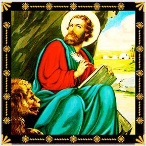 São Marcos - Quadrinhos confeccionados em Azulejo no tamanho 15x15 cm.Tem um ganchinho no verso para fixar na parede. Inspirados em santos católicos. Para entrar em contato conosco, acesse: www.babadocerto.com.br
