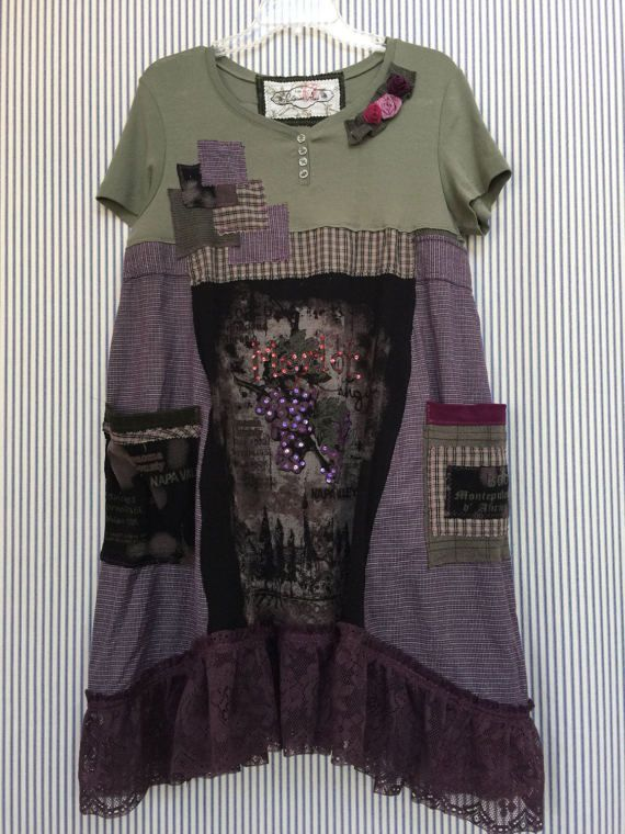 RESERVED Upcycled Patchwork Wine Tasting Dress Romantic