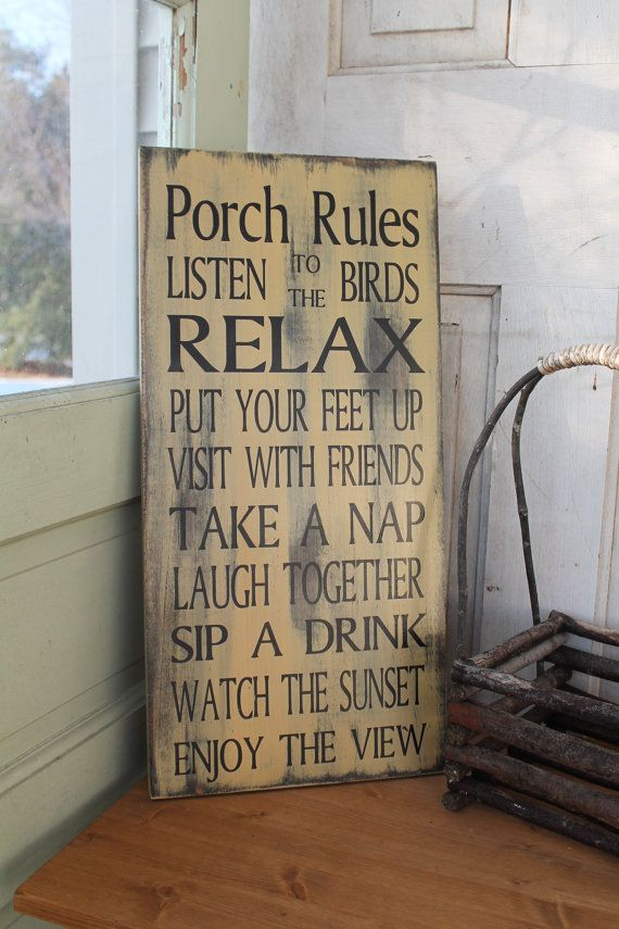 Porch Rules sign CUSTOM patio rules deck rules shabby chic, primitive, Vintage Style Typography Word Art Sign 11x24 great christmas gift