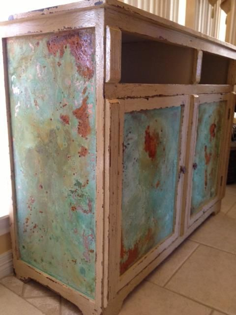 Modern Masters Metal Effects patina on on cabinet Peacock Artistic Finishes of Brenham, TX