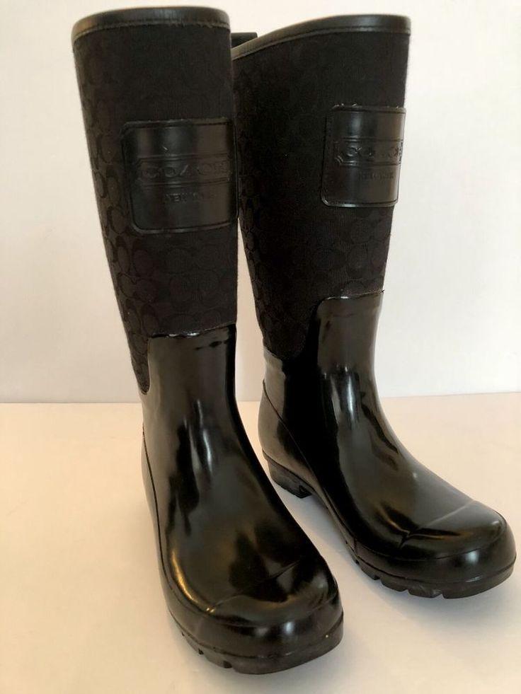 Coach Rain Boot Pearl Signature Black Rain Boot Size 5 USA Seller #Coach #Rainboots #Casual