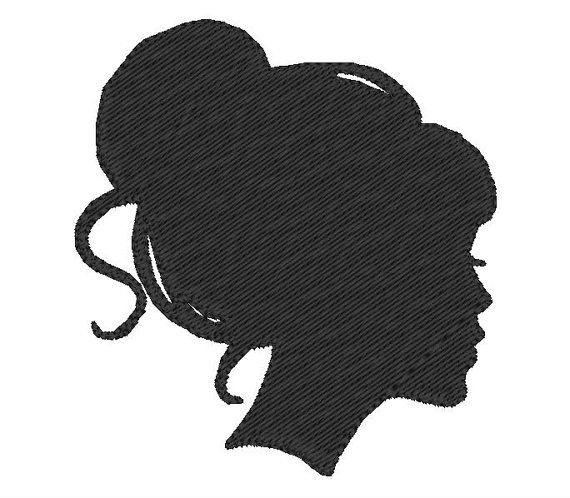free outlines of silhouettes of old fashioned heads | Machine Embroidery Design - Silhouette Girl with Bun - immediate ...