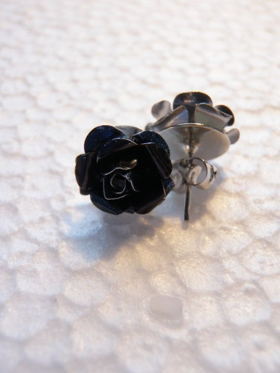 Black Upcycled Soda Can Rose Earrings by JnzAlteredArt on Etsy, $10.00
