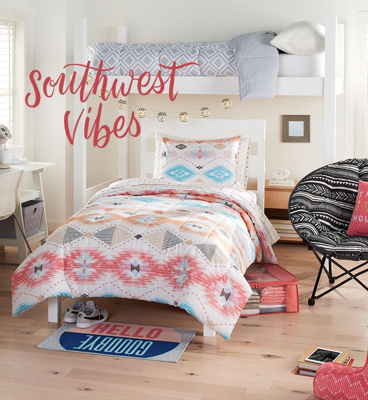 "Add a little Southwestern spice to your small-space college style with coordinating bedding and complementing decor. Featured product includes: Simple by Design 8-pc. Southwestern style dorm kit (reversible comforter, pillow sham, flat sheet, fitted sheet, pillow case, storage tote and two bath towels), paper lantern string lights, memory foam saucer chair, ""Think Happy Thoughts"" throw pillow and ""Hello Goodbye"" rug. Get set for back to school at Kohl's."