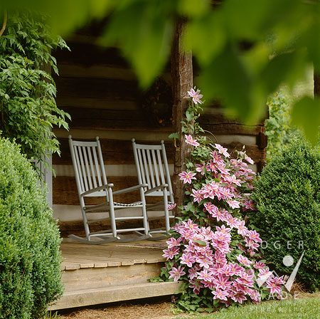 Just the way it should be.....: Cabin, Rocks Chairs, Dreams, Rockers, Pink Clematis, Back Porches, Porches Sit, Flowers, Front Porches