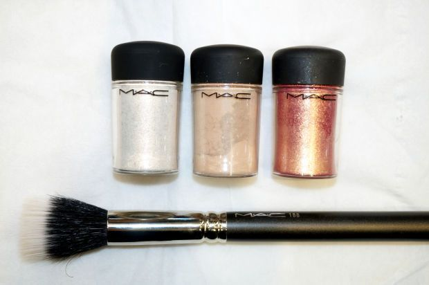 L-R: MAC Pigments in Vanilla, Naked, and Rose.