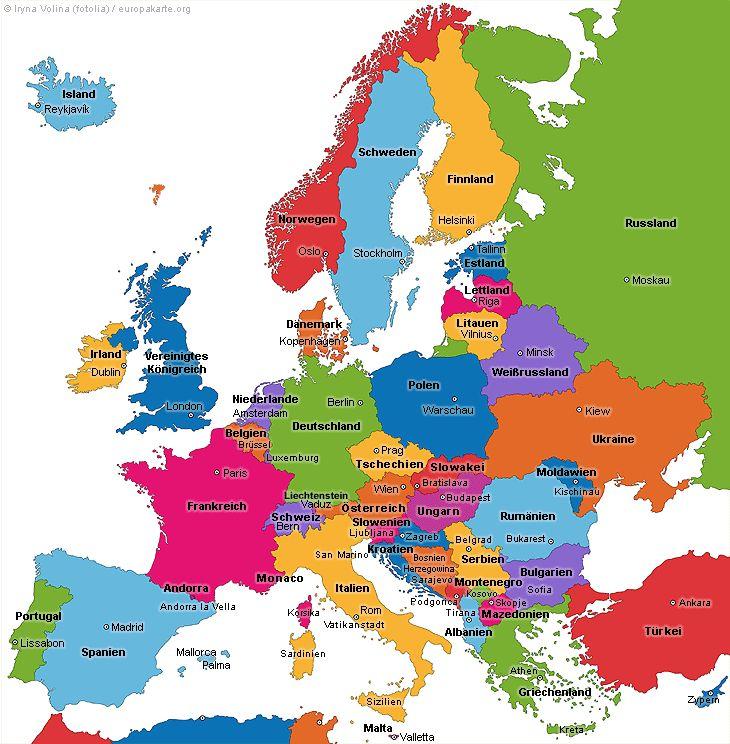 Die Länder auf der Europakarte