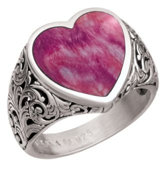 Kabana® Jewelry Sterling Silver Filigree Heart Ring - Spiny Oyster Purple | Bass Pro Shops