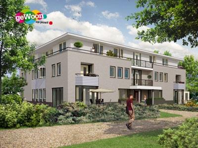 Artist Impressie van het voormalig Koetshuis aan de Otto'slaan in de Hilversumse villawijk Boomberg. Dudok Wonen realiseerde hier twaalf nieuwe appartementen voor jongeren met een licht verstandelijke en/of lichamelijke beperking. Het is onderdeel van 'geWoon op jezelf'.