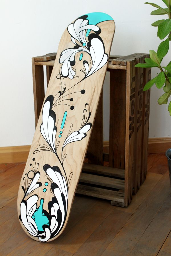 """NEKTAR°2"" painted skateboard by Ekaterina Koroleva, via Behance"
