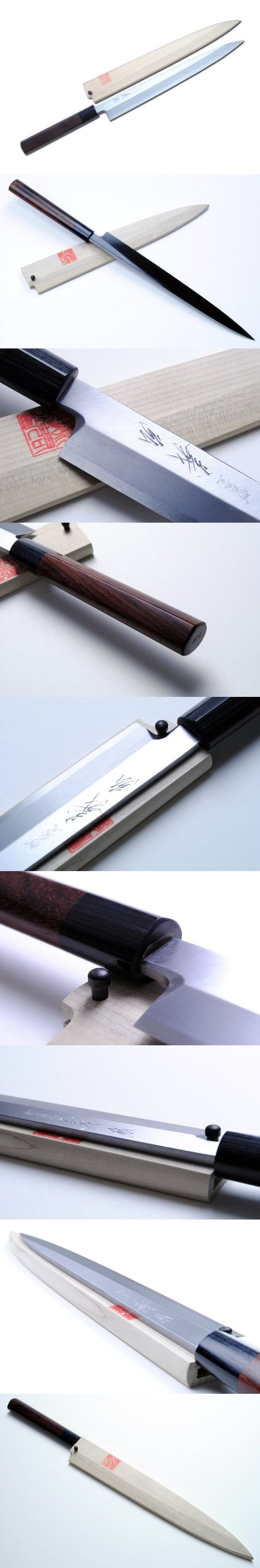 23 best knifes images on pinterest knifes kitchen knives and yoshihiro shiroko kasumi yanagi sashimi knife shitan handle 10 5 270mm made in japan kasumi means mist in japanese the border of the blade on a