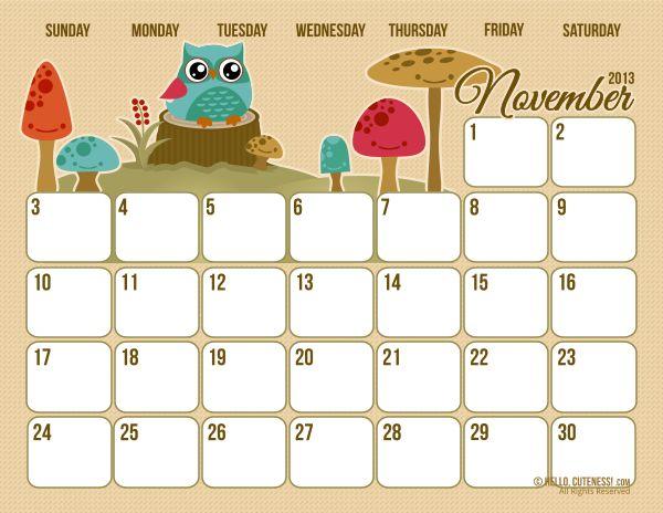{Free Version} November 2013 Calendar - I love these calendars from HelloCuteness!!!