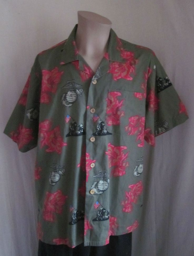 US Marines Eagle Crest Iwo Jima Hawaiian Short Sleeve Causal Kamp Shirt Sz XXL #KampShirtEagleCrest #ButtonFront