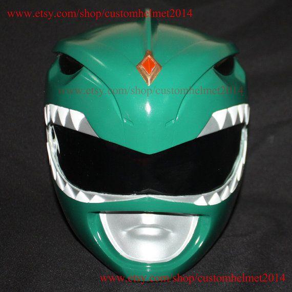 1:1 Scale Halloween Costume, Mighty Morphin Power Ranger Helmet Costume Mask, Power Ranger Cosplay Green Ranger PR03