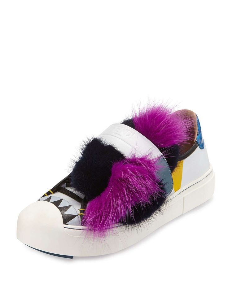Fendi Bugs Leather Fur Monster Sneaker, Pink, Size: 35.5B/5.5B
