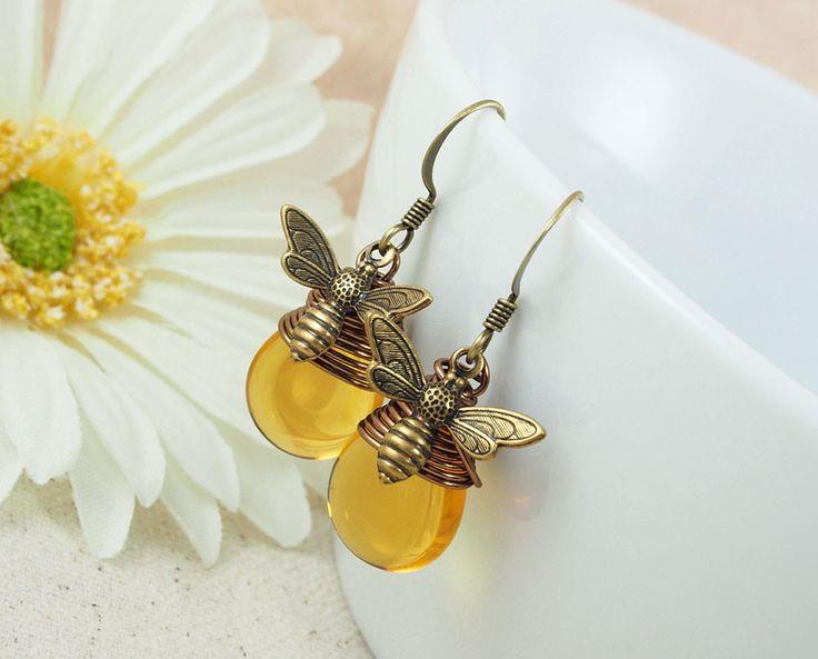 Honey Drop Bee Earrings
